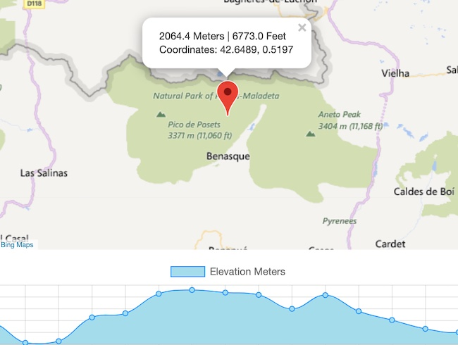 Höhe auf der Karte berechnen